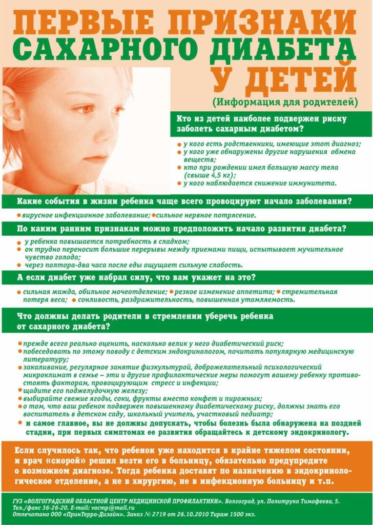 Диабет у ребенка признаки и симптомы